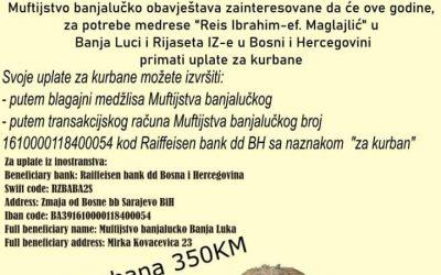 """Akcija uplate kurbana za potrebe medrese """"Reis Ibrahim-ef. Maglajlić"""" u Banja Luci"""